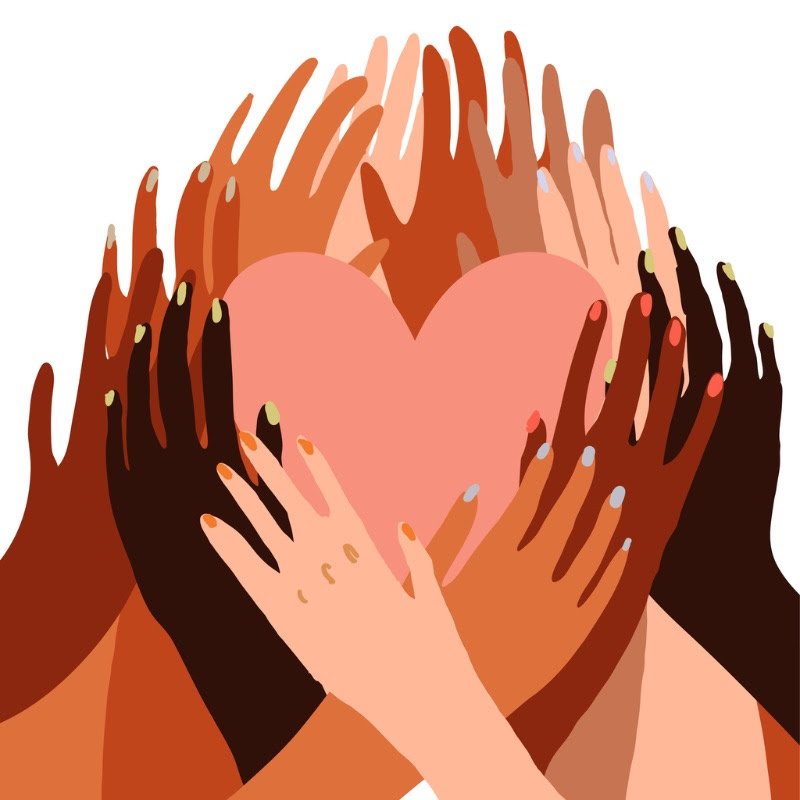 illustration of different color hands wrapped around a heart